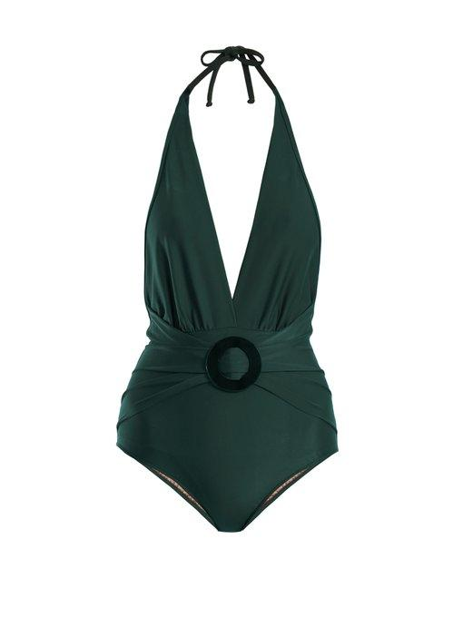 61fd854286a Adriana Degreas Halterneck Deep V-Neck Swimsuit In Dark Green   ModeSens