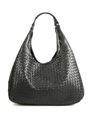 Bottega Veneta Large Campana Leather Hobo Bag - None In Black