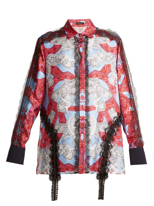 611456614f Lace-Trimmed Baroque-Print Silk Shirt in Blue Multi