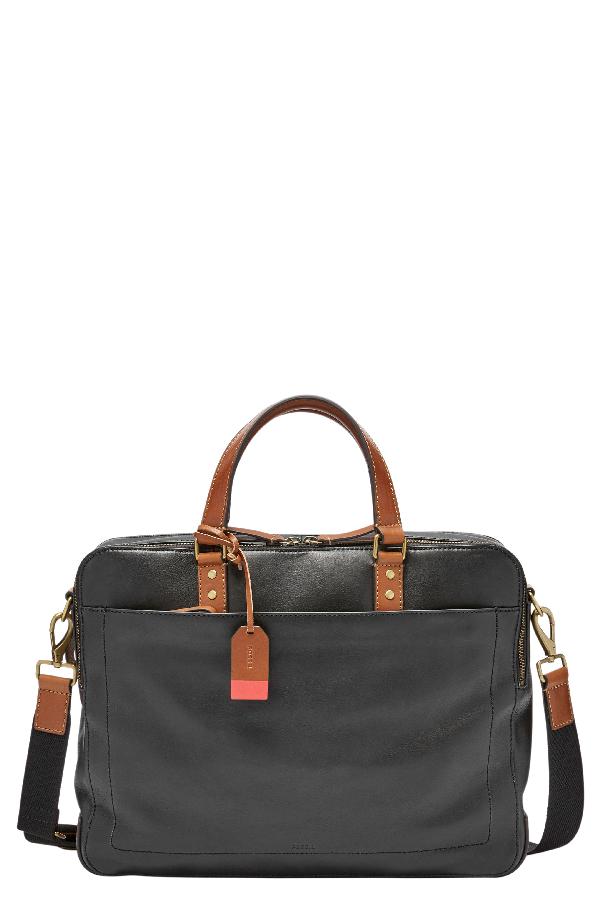 115e6126a741 Fossil Defender Leather Briefcase - Black