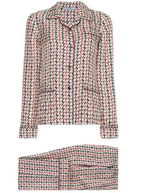 98601887dea355 Prada Geometric-Print Silk Pyjama Set In Neutrals