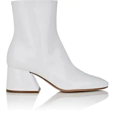Maison Margiela Angled-Heel Patent Leather Ankle Boots In White
