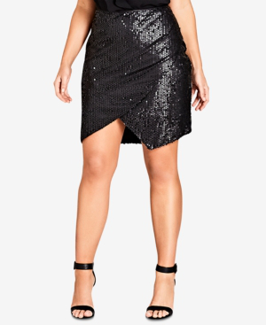 dbb42e273329 City Chic Trendy Plus Size Sequined Mini Skirt In Black | ModeSens