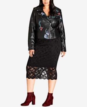 7574a3bb1 Trendy Plus Size Embroidered Floral Faux-Leather Moto Jacket in Black