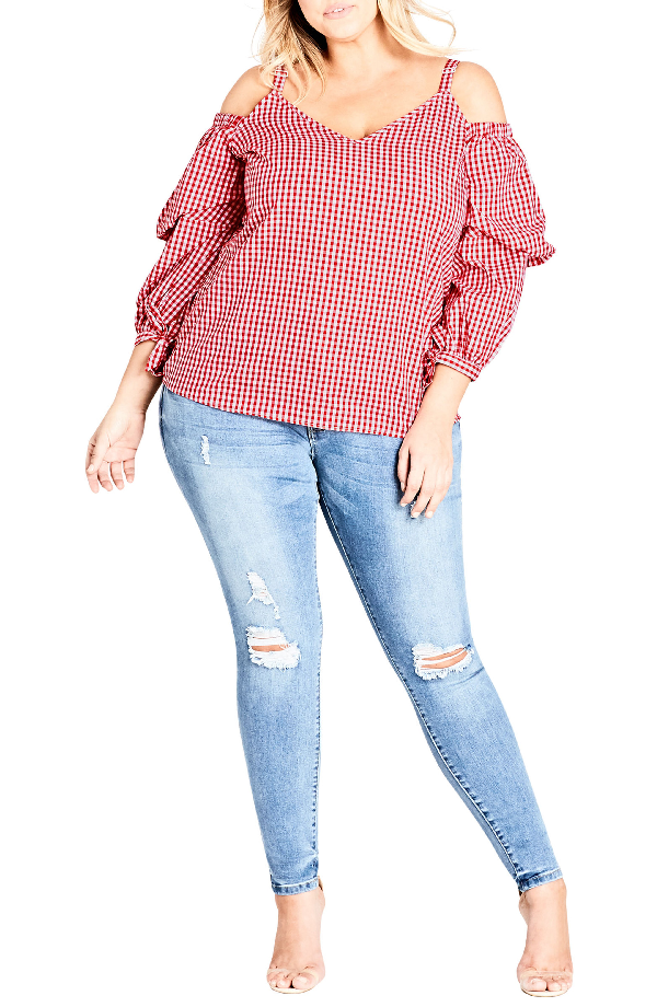 6b8b32a522bb9 City Chic Trendy Plus Size Cotton Gingham Cold-Shoulder Top In Red Check