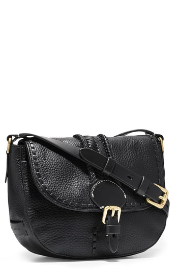 89a955a0cd Cole Haan Mini Loralie Whipstitch Leather Saddle Bag - Black | ModeSens