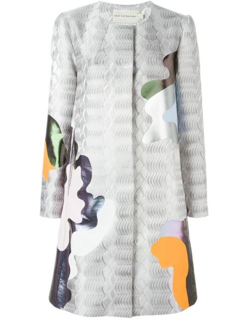 Mary Katrantzou A-line Framis-print Jacquard Coat In Grey