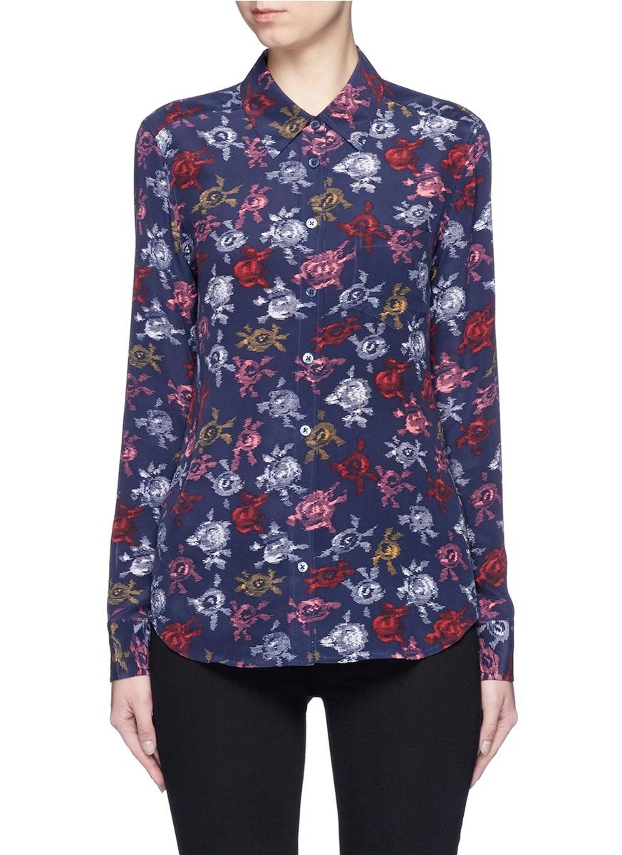 a98365ec2ad379 Equipment  Brett  Static Floral Print Silk Shirt In Peacoat