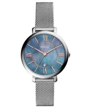 Fossil Women's Jacqueline Stainless Steel Mesh Bracelet Watch 36mm In Silver