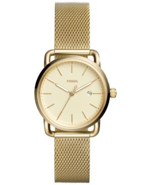 Fossil Women's Commuter Gold-tone Stainless Steel Mesh Bracelet Watch 34mm