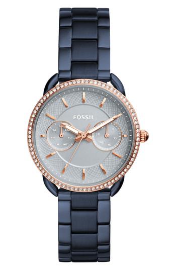 Fossil Women's Tailor Blue Stainless Steel Bracelet Watch 35mm
