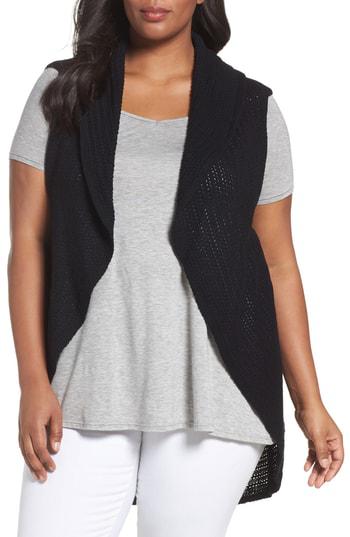Foxcroft Cotton Knit Circle Vest In Black