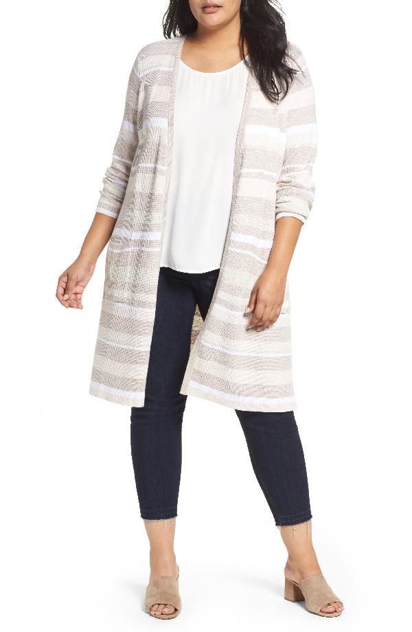 Foxcroft Rhona Textured Stripe Longline Cardigan In Neutral