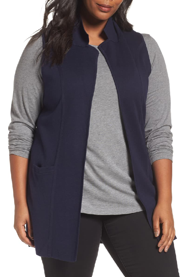 Foxcroft Jodi Longline Sweater Vest In Navy