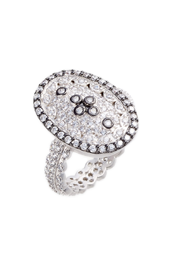Micropave Cubic Zirconia Clover Ring Rhodium Plated Sterling Silver