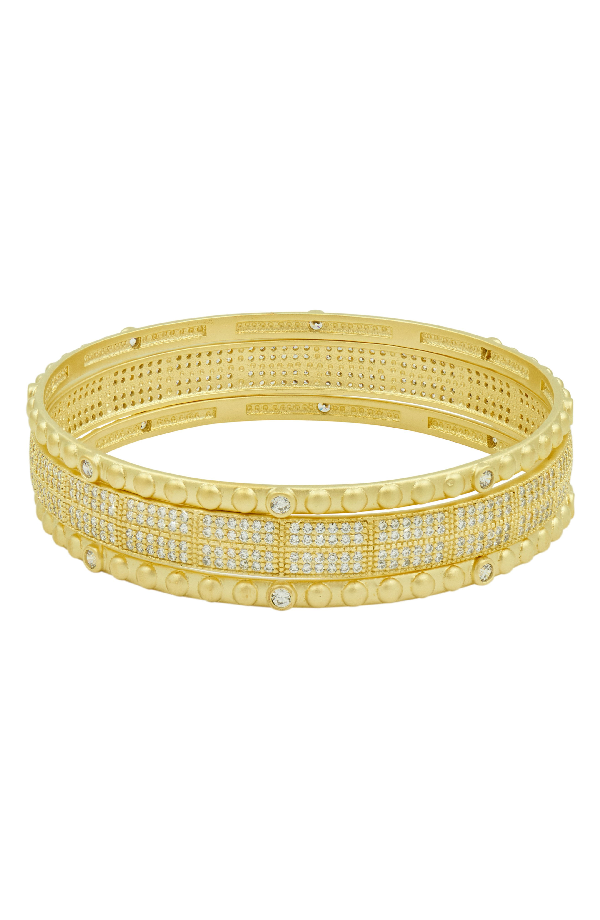 Freida Rothman Amazonian Allure Set Of 3 Pave Bangles In Gold