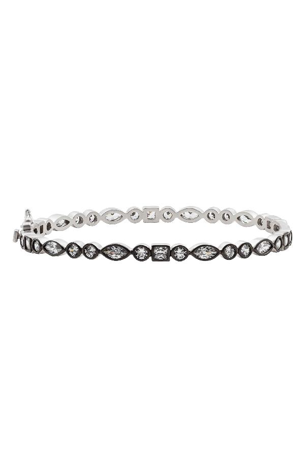 Freida Rothman Signature Hinge Bangle In Silver/ Black