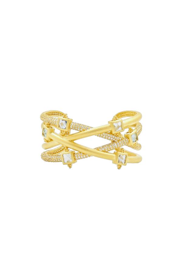 Freida Rothman Ocean Azure Cuff Bracelet In Gold/ Aqua