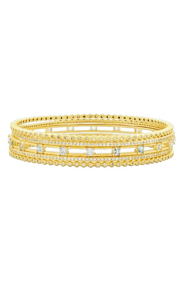Freida Rothman Ocean Azure Stack Bangle In Gold/ Aqua