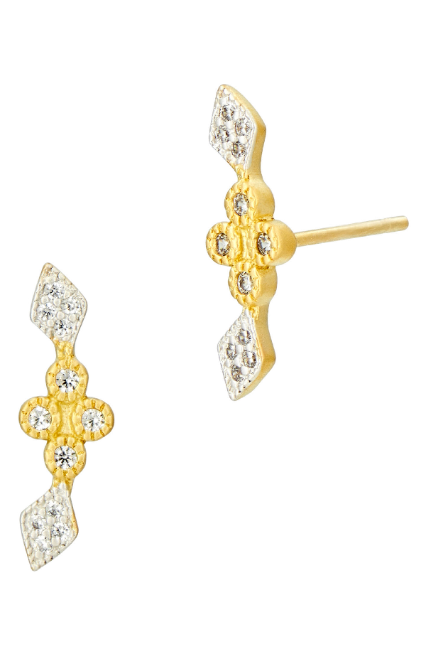 Freida Rothman Visionary Fusion Stud Earrings In Gold/ Silver