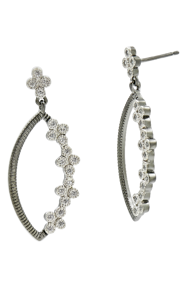 Freida Rothman Industrial Finish Marquise Drop Earrings In Black/ Silver