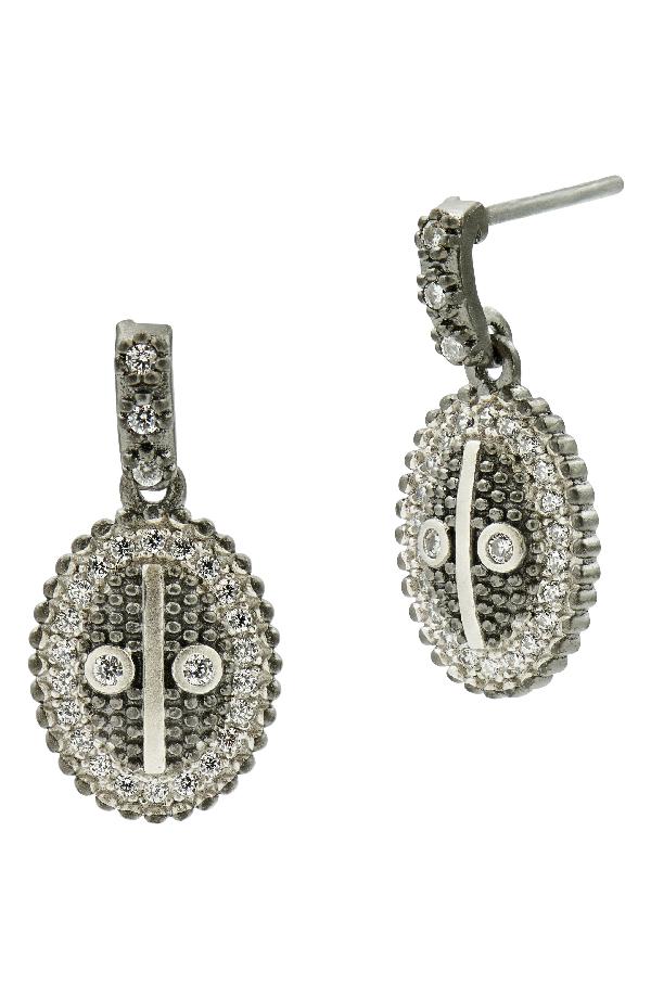 Freida Rothman Industrial Finish Oval Drop Earrings In Black/ Silver