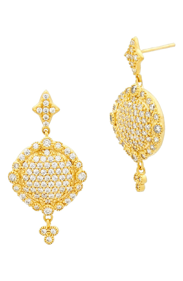 Freida Rothman 'mercer' Pave Drop Earrings In Gold