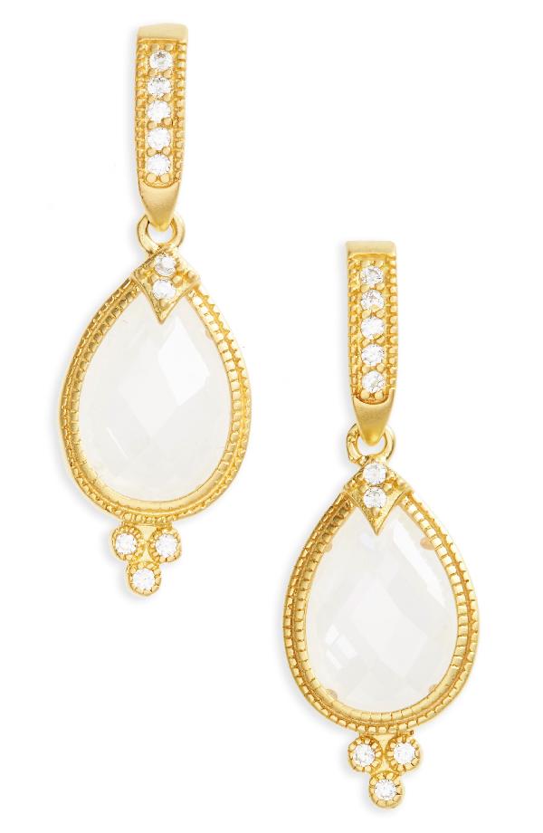 Freida Rothman Audrey Teardrop Earrings In Gold/ Clear