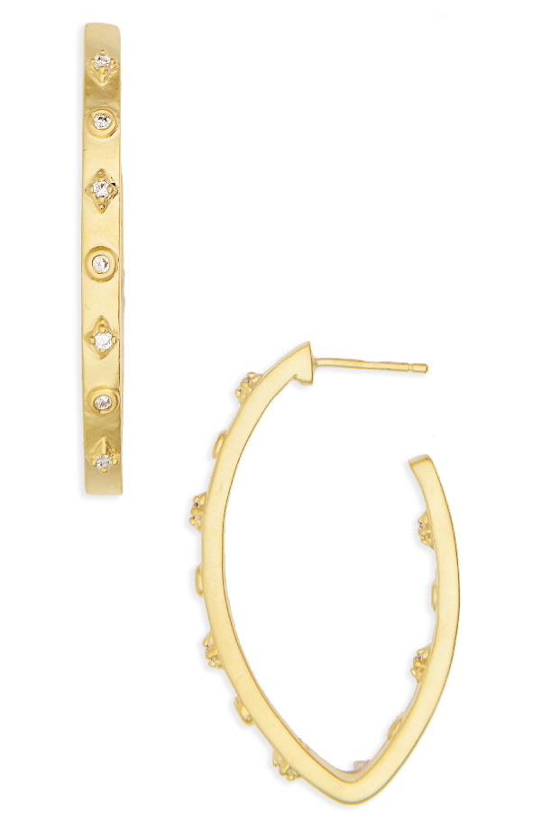 Freida Rothman Audrey Cubic Zirconia Hoop Earrings In Gold/ Clear