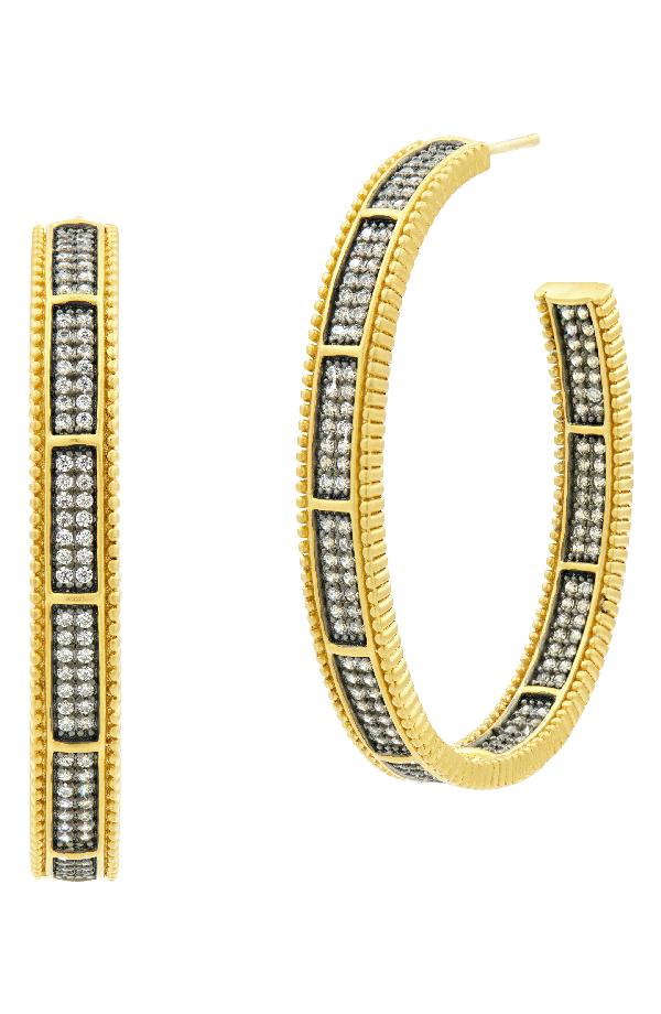 Freida Rothman All Around Cubic Zirconia Hoops In Black/ Gold