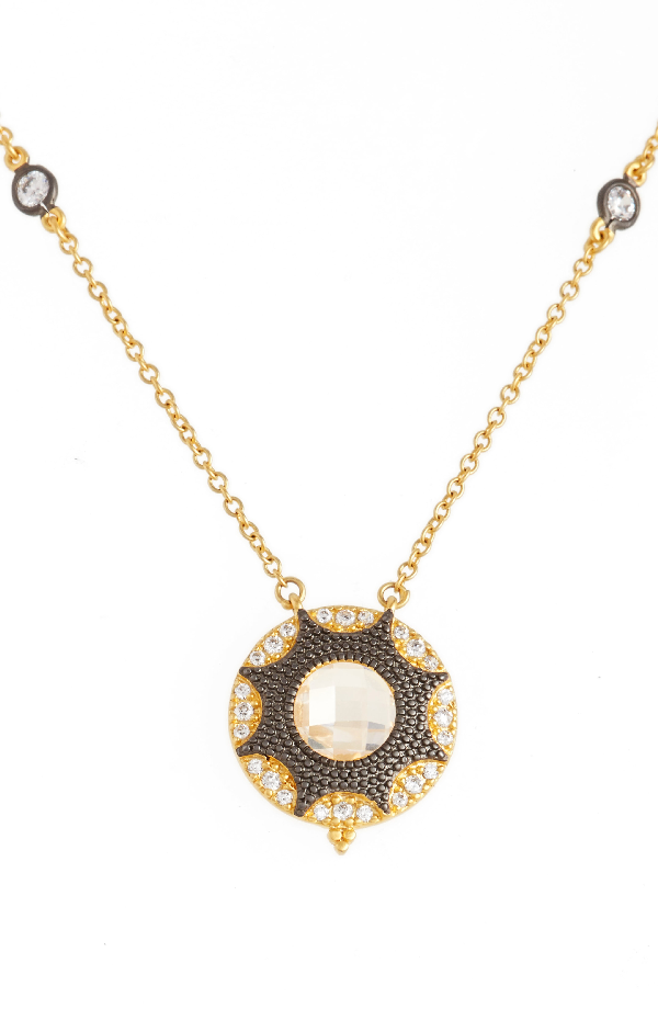 Freida Rothman Round Pendant Necklace In Gold/ Black Rhodium
