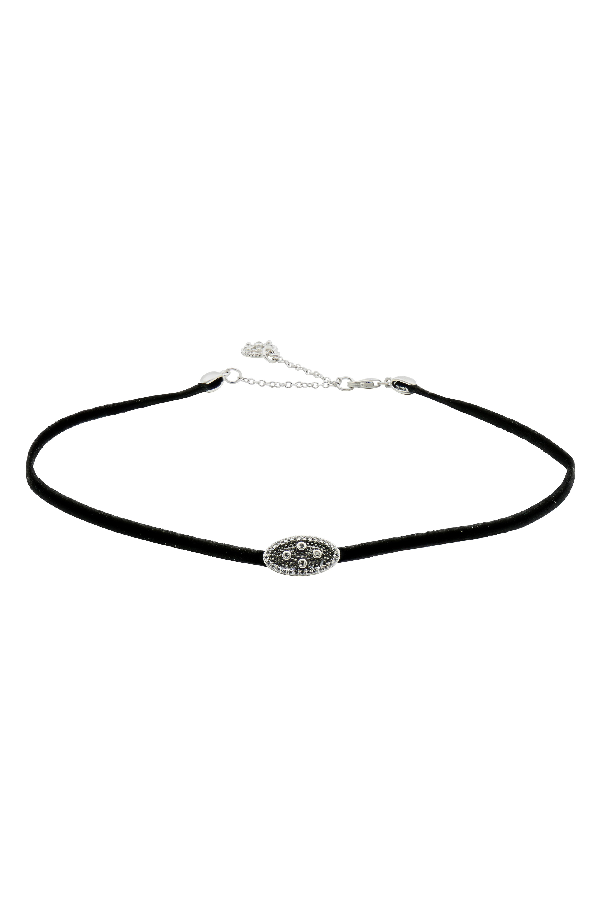 Freida Rothman If Charm Choker Necklace, 11 In Black/ Silver