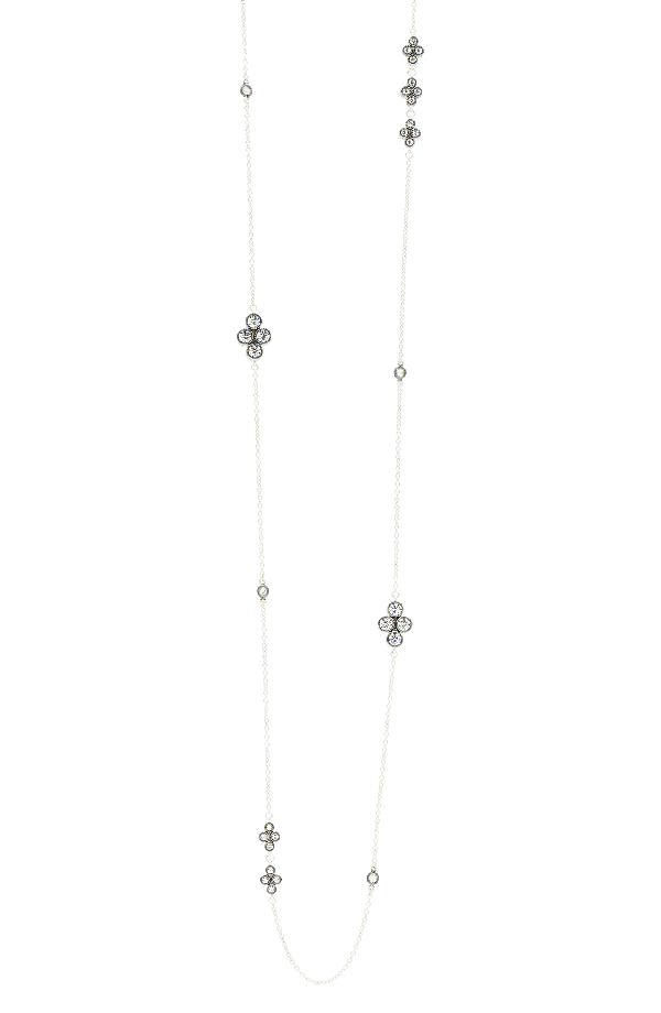 Freida Rothman Industrial Finish Long Station Necklace In Black/ Silver