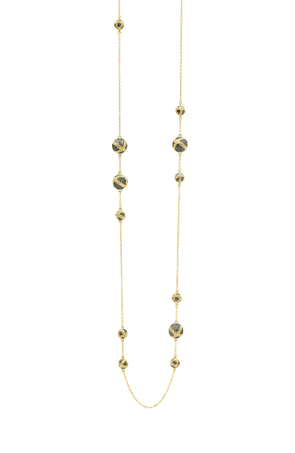 Freida Rothman Textured Ornaments Station Necklace In Black/ Gold