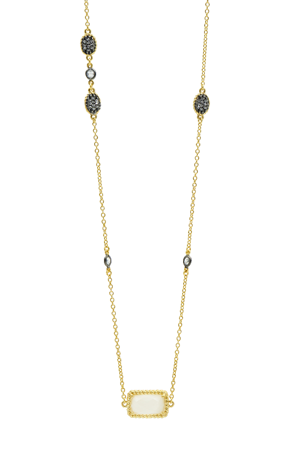 Freida Rothman Gilded Cable Stone & Pave Long Station Necklace In Black/ Gold