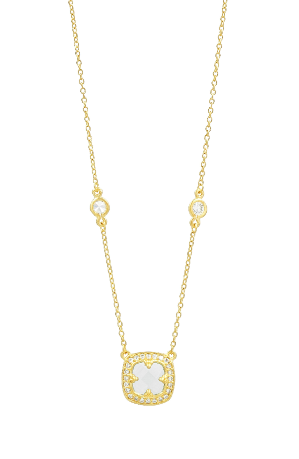 Freida Rothman Frieda Rothman Ocean Azure Pendant Necklace, 16 In Gold/ Aqua