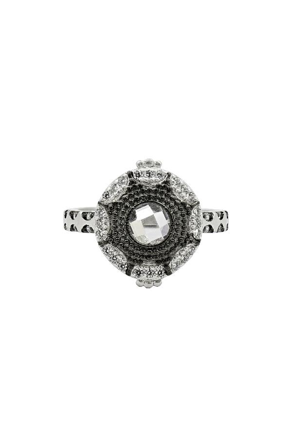 Freida Rothman Signature Starburst Ring In Silver/ Black