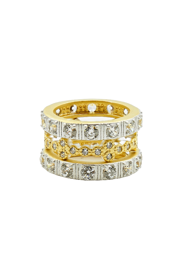 Freida Rothman Set Of Three Stacking Rings In Gold/ Silver