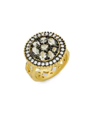 Freida Rothman Crystal Round Pebble Cocktail Ring In Gold
