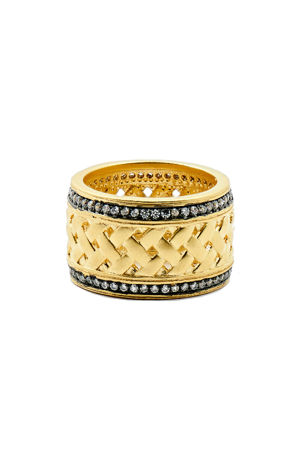 Freida Rothman Textured Ornaments Wide Band Ring In Black/ Gold