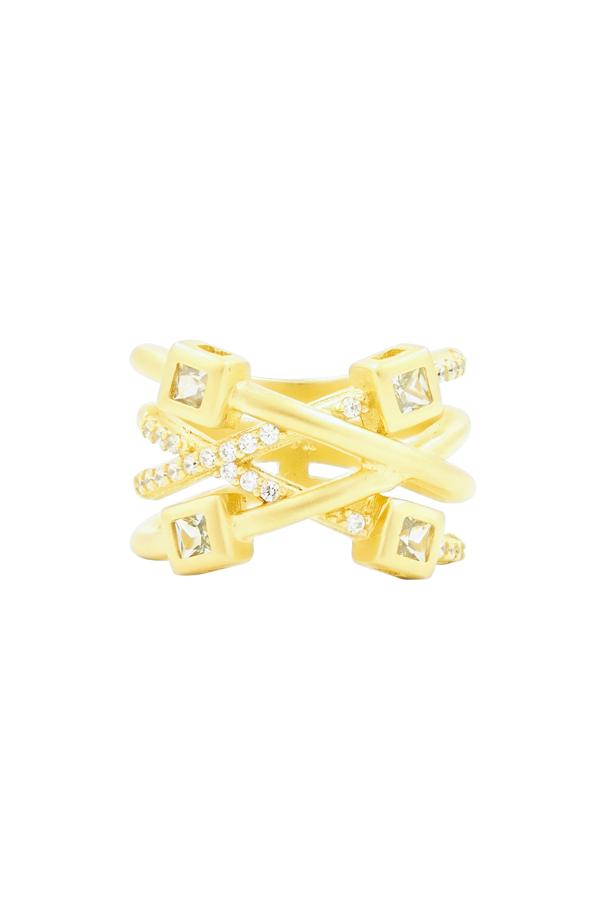 Freida Rothman Ocean Azure Cubic Zirconia Ring In Gold/ Aqua