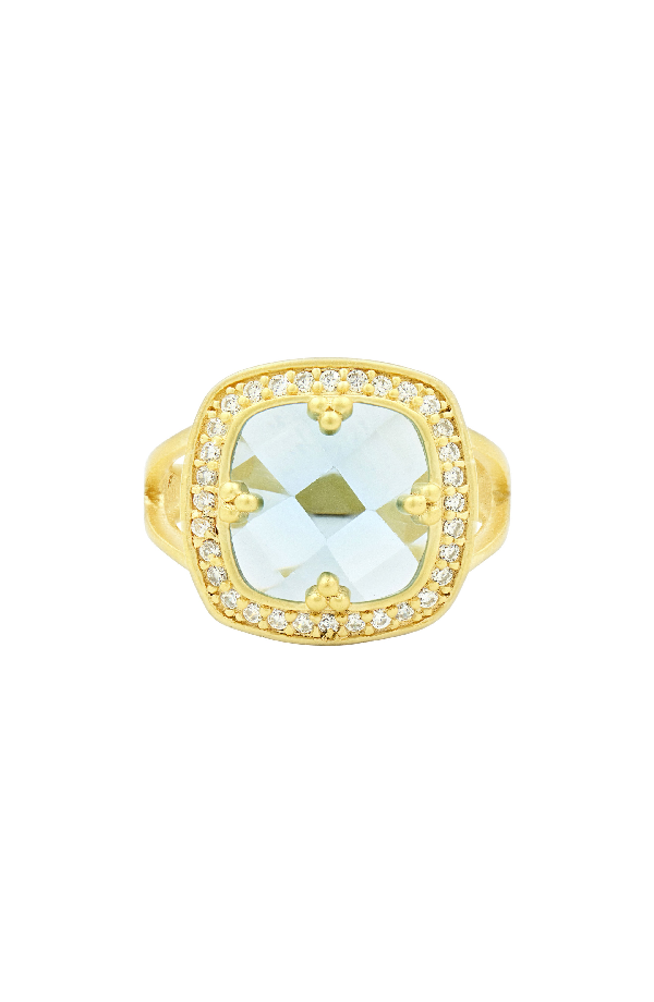 Freida Rothman Frieda Rothman Ocean Azure Cocktail Ring In Gold/ Aqua