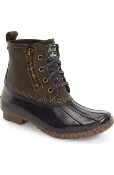 G.h. Bass & Co. Danielle Waterproof Duck Boot In Chocolate/ Navy Leather