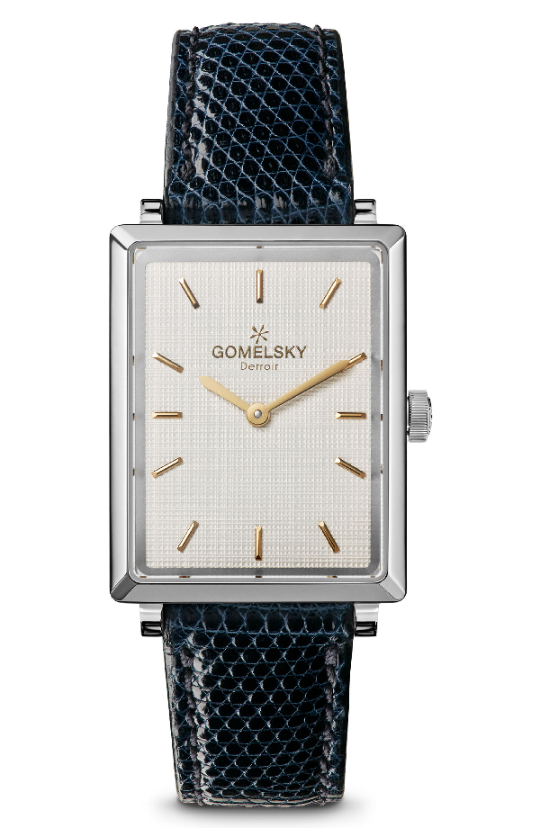 Gomelsky The Shirley Fromer Leather Strap Watch, 32mm X 25mm In Navy/ Brass/ Silver