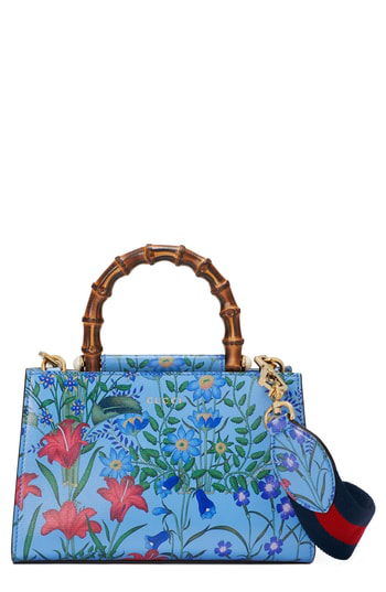 Gucci Mini Nymphea Leather Top Handle Satchel - Blue In Azure