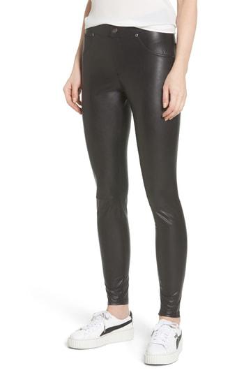 Hue Leatherette Curvy Leggings In Black