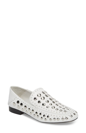 1.state Flintia Studded Flat In White Leather