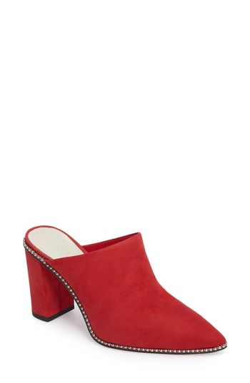 1.state Relle Mule In Scarlet Leather