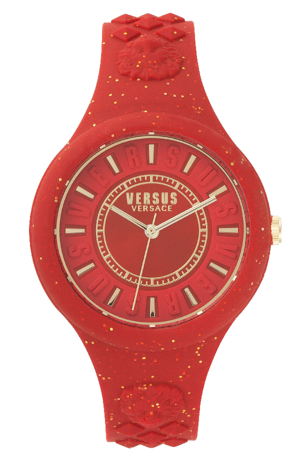 Versus Fire Island Silicone Strap Watch, 39mm In Red