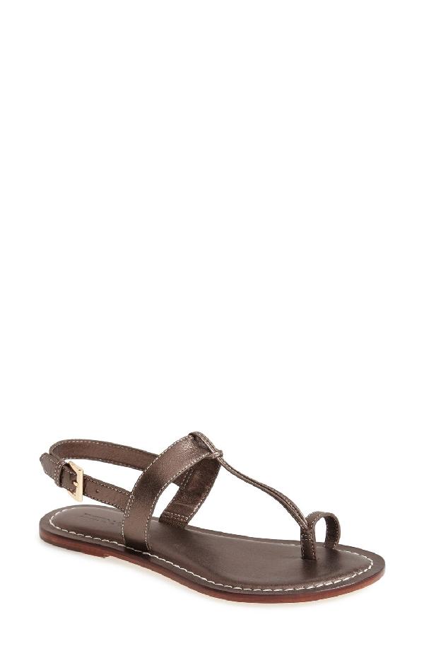 Bernardo Maverick Leather Sandal In Pewter